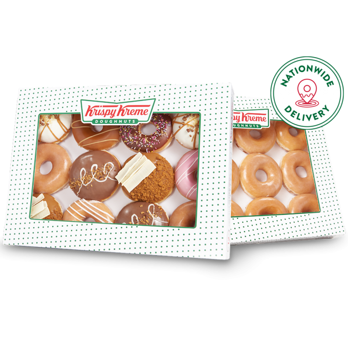 Favourites and original glazed double dozen with nationwide delivery logo