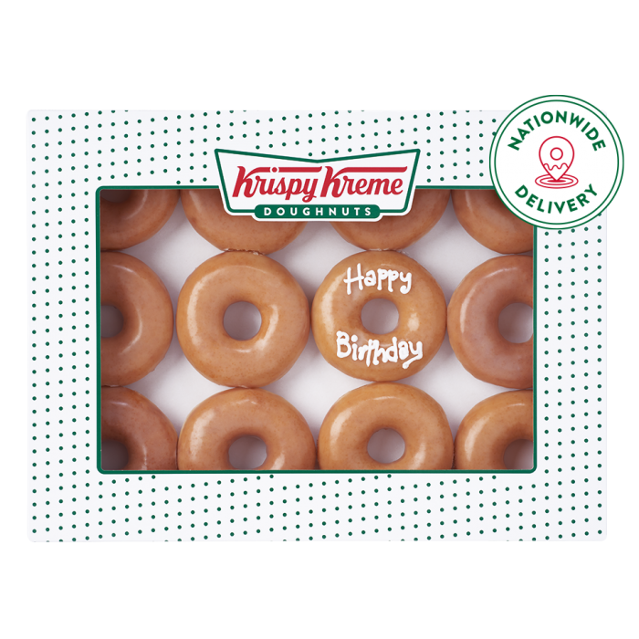original glazed dozen with one personalised doughnut with nationwide delivery logo